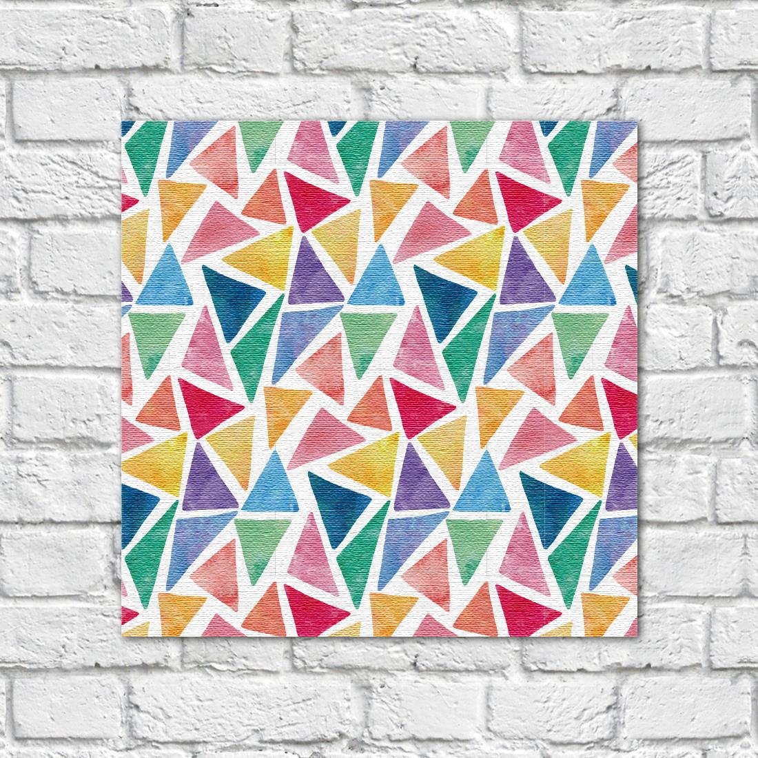 Quadro Decorativo Em Canvas Triangulos Coloridos