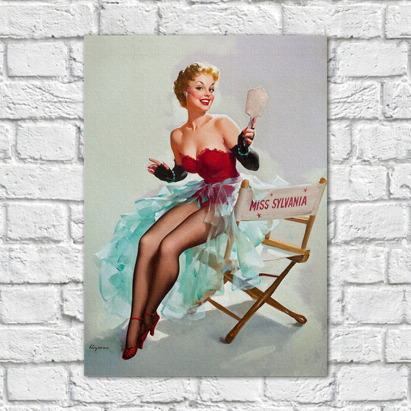 Quadro Decorativo Vintage Pin Up Miss Sylvania - Em Canvas