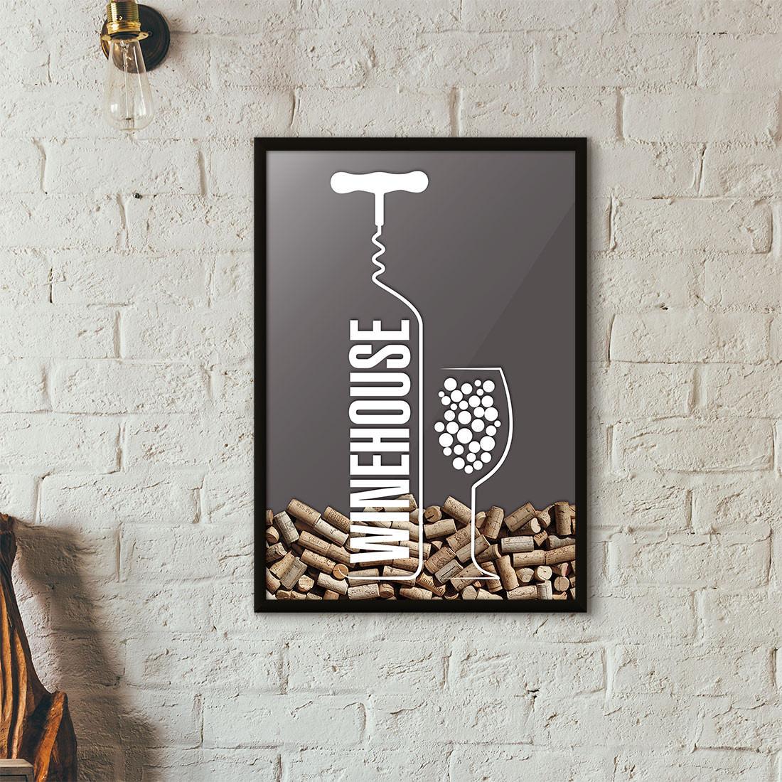 Quadro Porta Rolhas de Vinho - Wine House - Cinza