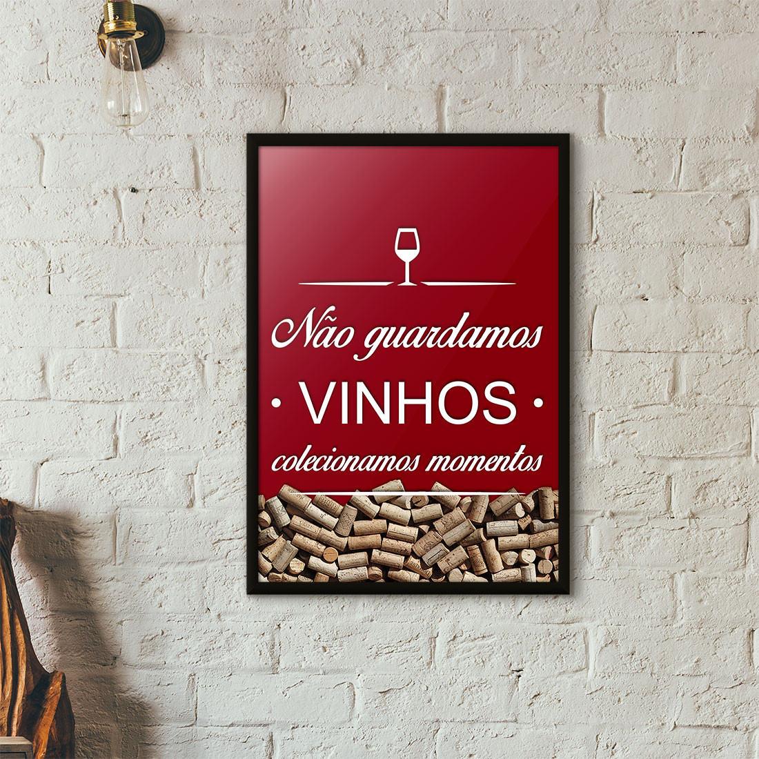 Quadro Porta Rolhas de Vinho - Colecionamos Momentos - Vinho