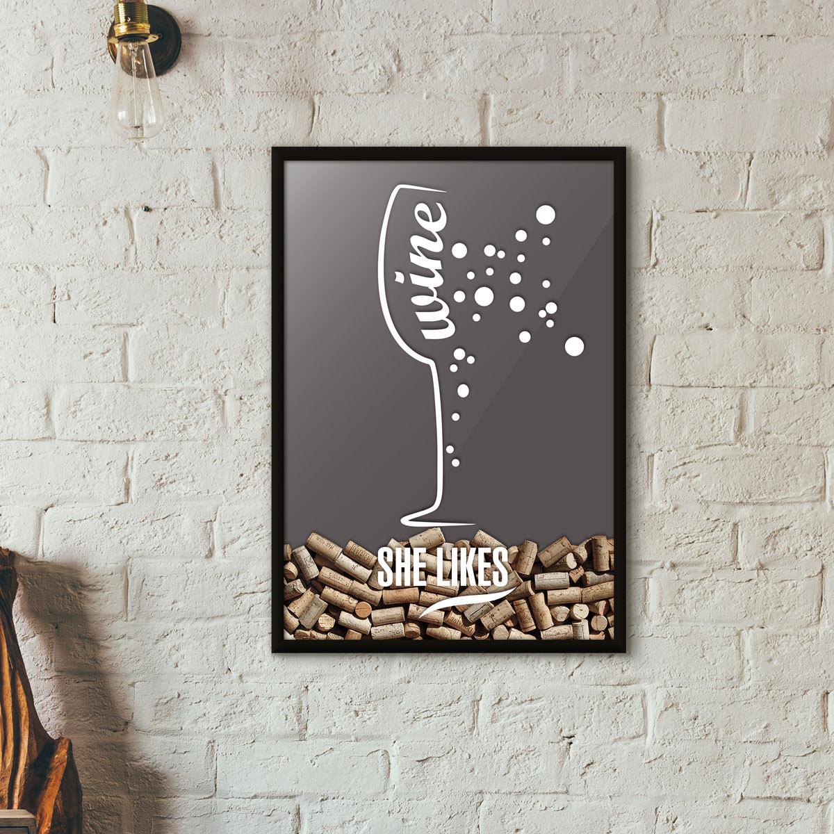 Quadro Porta Rolhas de Vinho - She Likes - Cinza