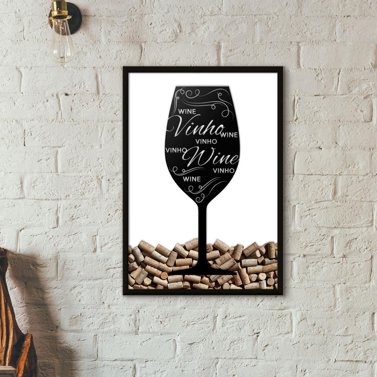 Quadro Porta Rolhas de Vinho - Taça Decorada (Moldura Preta)