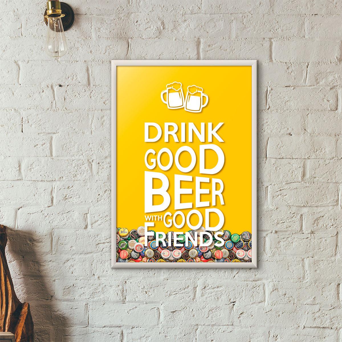 """Quadro Porta Tampinhas de Cerveja - """"Drink Good Beer with Good Friends"""" Amarelo"""