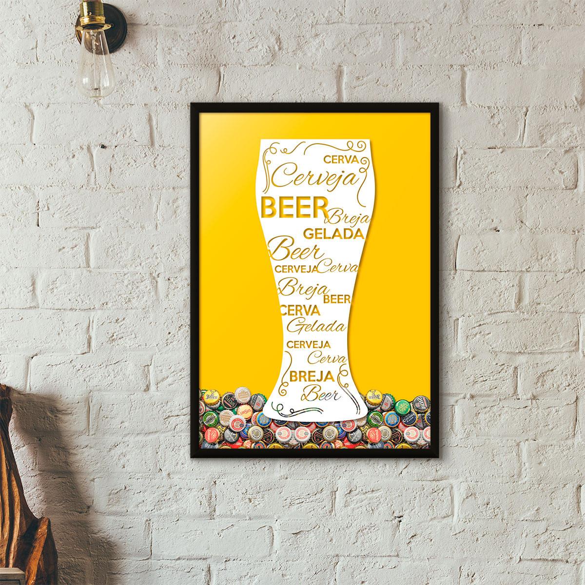 Quadro Porta Tampinhas de Cerveja - Tulipa Decorada - (Moldura Preta)