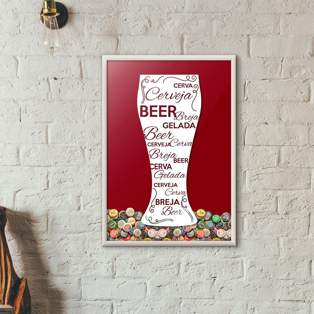 Quadro Porta Tampinhas de Cerveja - Tulipa Decorada - (Moldura Branca)