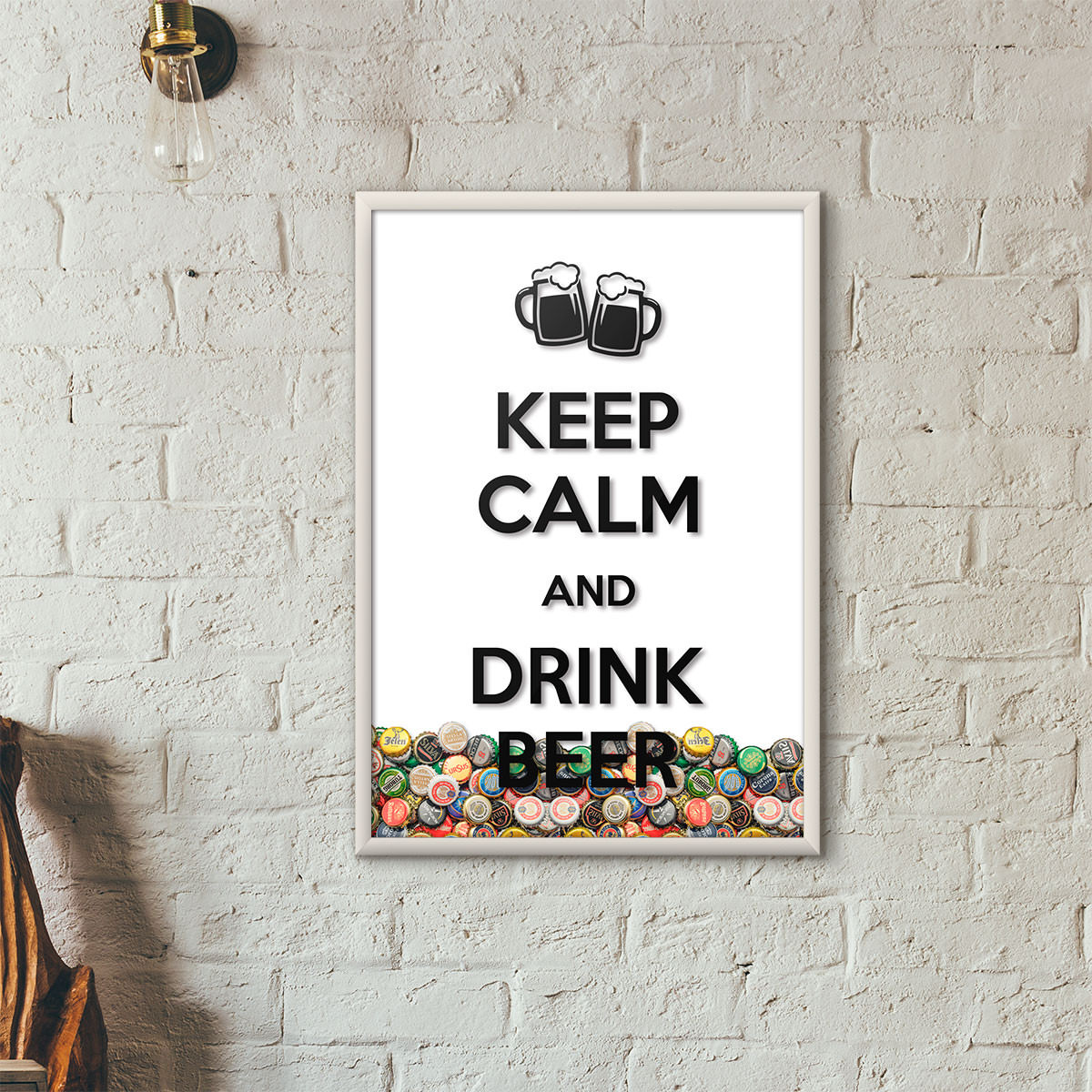 """Quadro Porta Tampinhas de Cerveja - """"Keep Calm And Drink Beer"""" (Moldura Branca) - Fundo Branco"""