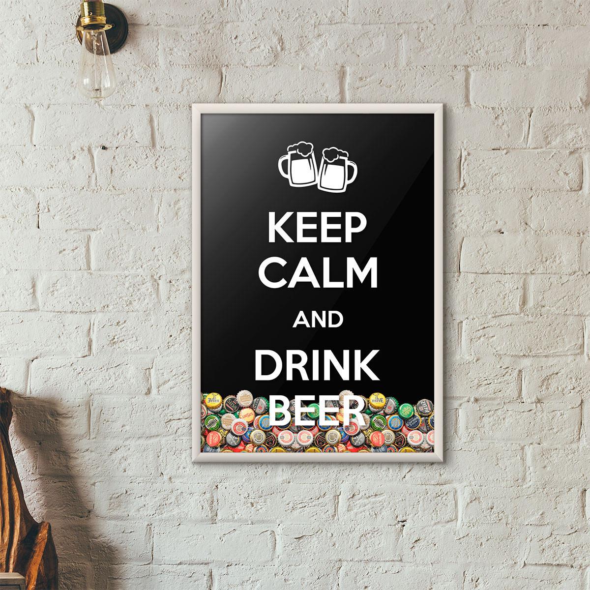 """Quadro Porta Tampinhas de Cerveja - """"Keep Calm And Drink Beer"""" (Moldura Branca) - Fundo Preto"""