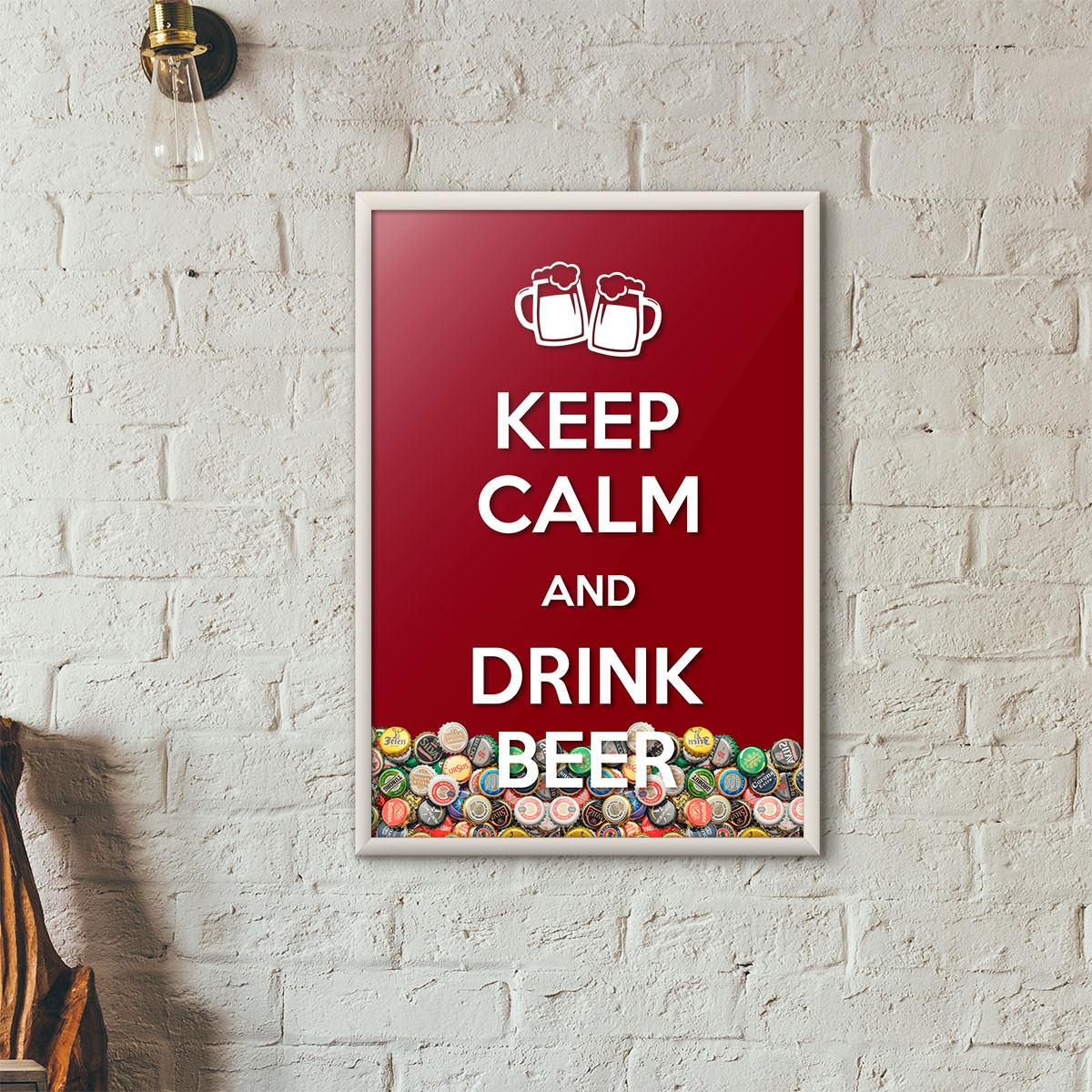 """Quadro Porta Tampinhas de Cerveja - """"Keep Calm And Drink Beer"""" (Moldura Branca) - Fundo Vinho"""