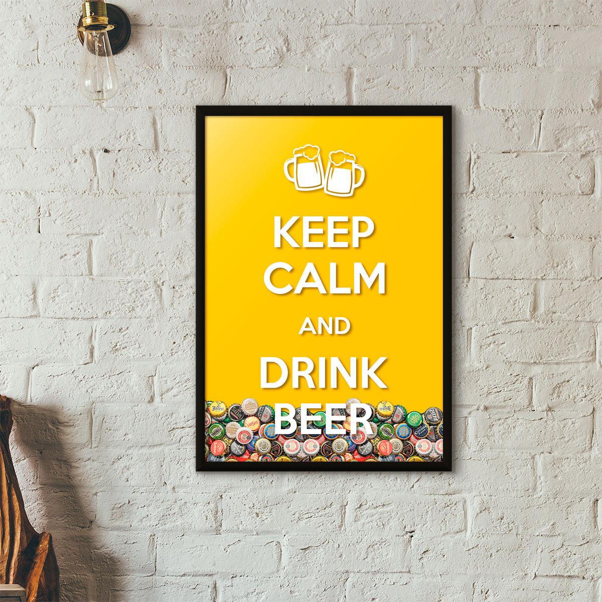 """Quadro Porta Tampinhas de Cerveja - """"Keep Calm And Drink Beer"""" (Moldura Preta) - Fundo Amarelo"""