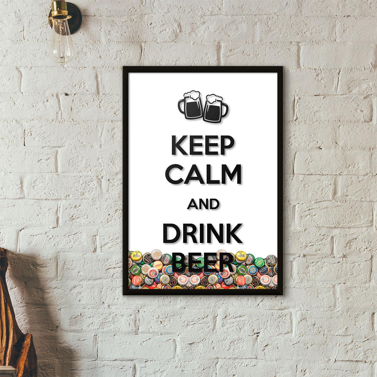 """Quadro Porta Tampinhas de Cerveja - """"Keep Calm And Drink Beer"""" (Moldura Preta) - Fundo Branco"""