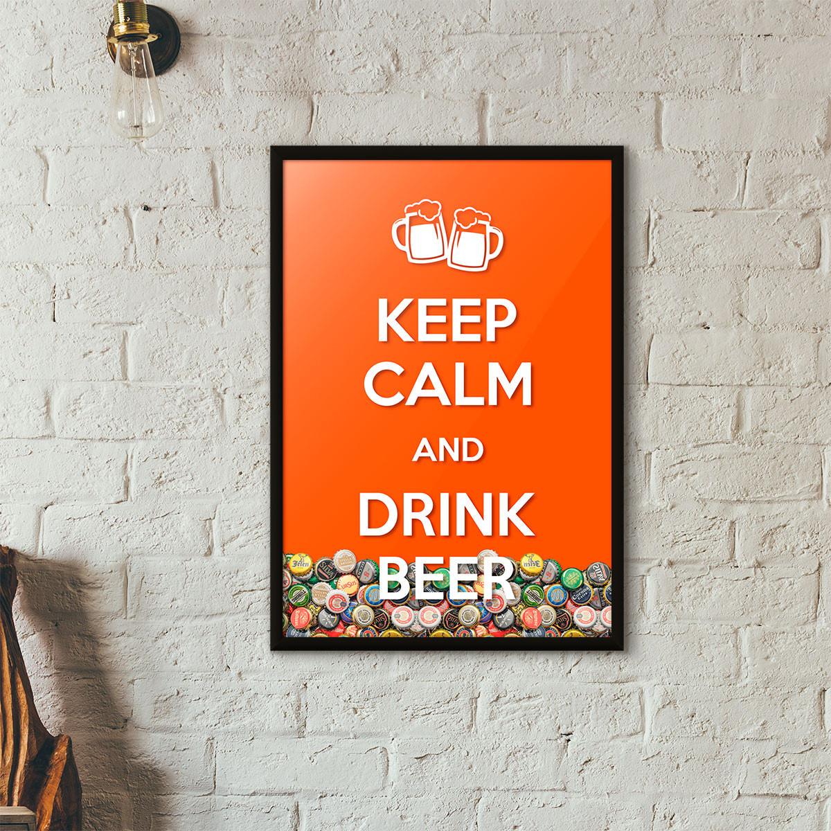 """Quadro Porta Tampinhas de Cerveja - """"Keep Calm And Drink Beer"""" (Moldura Preta) - Fundo Laranja"""