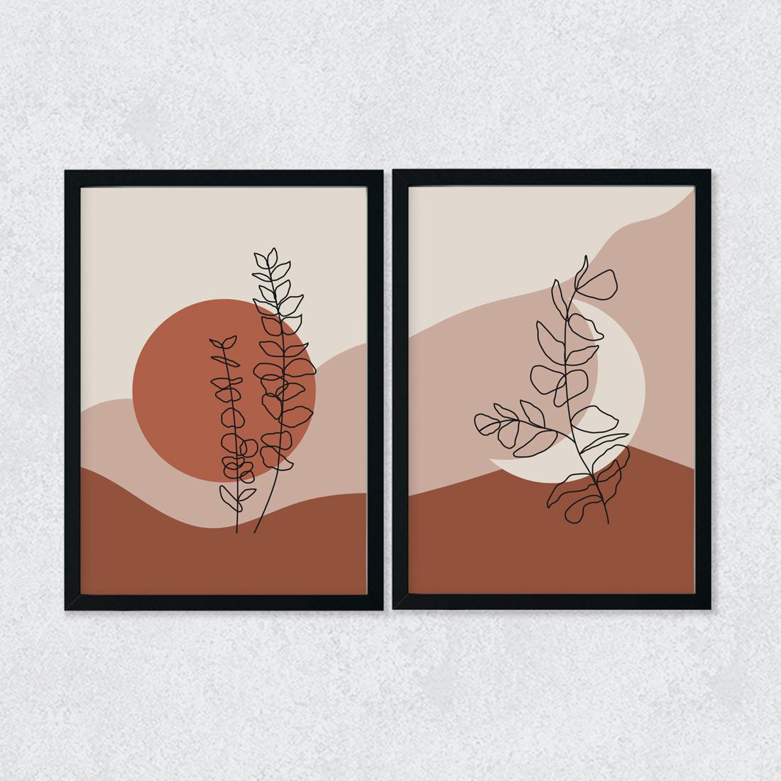 Conjunto de Quadros Decorativos Arte Moderna Botânica