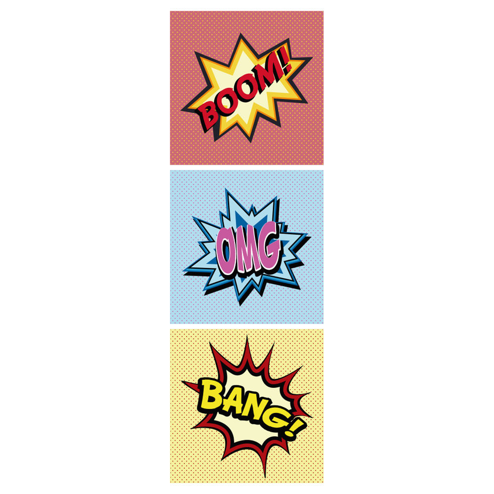 Conjunto de Quadros Decorativos Comic Sounds Bang Boom OMG
