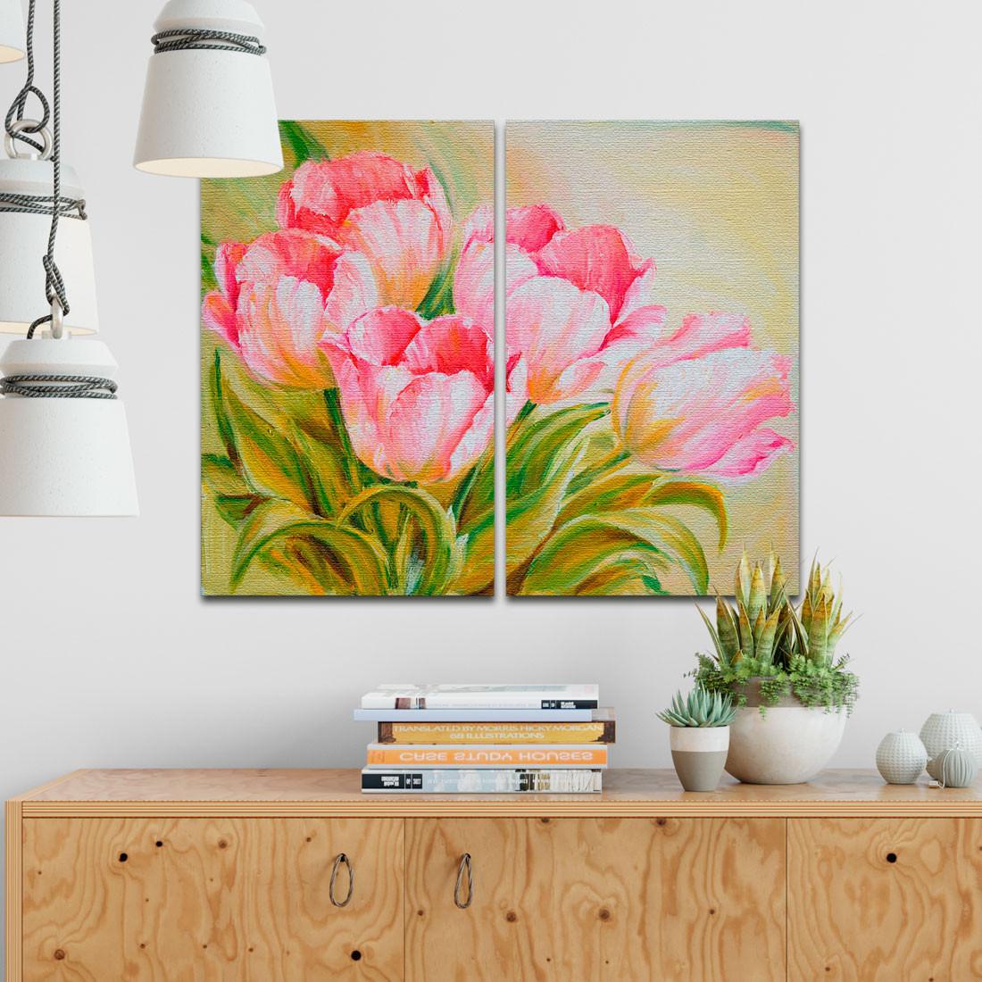 Conjunto de Quadros Decorativos Tulipas Rosa - Em Canvas