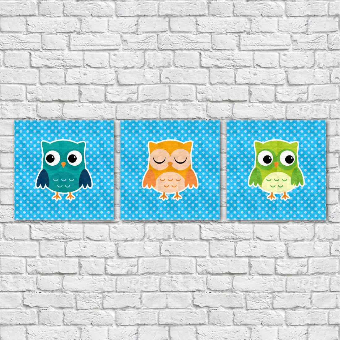 Conjunto de Quadros Decorativos Infantil Corujas - Em Canvas