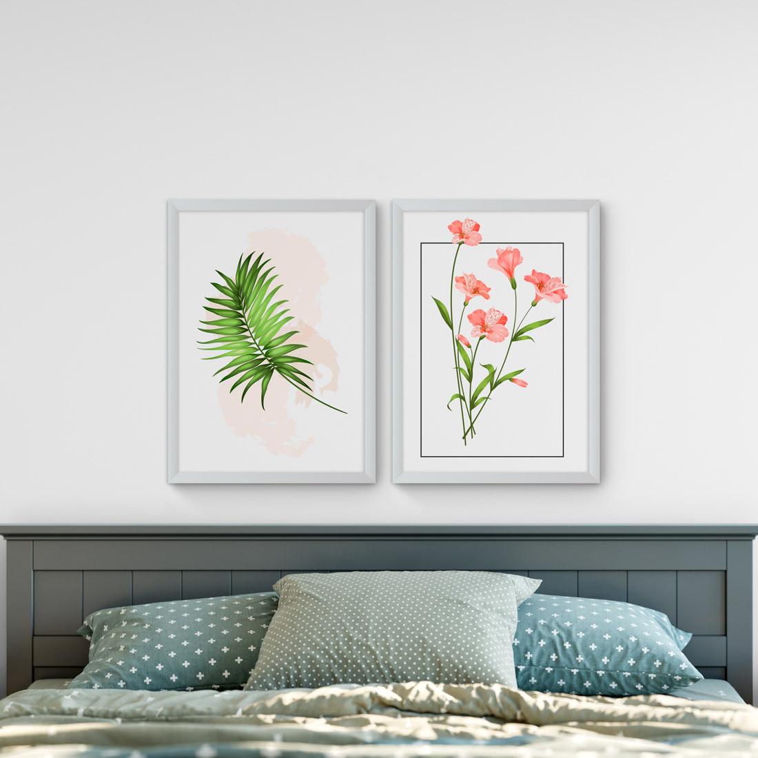 Conjunto de Quadros Decorativos Hibisco Tropical