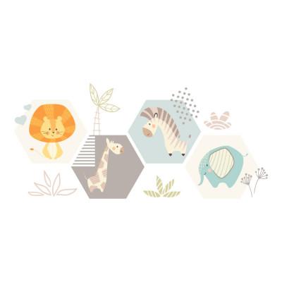 Adesivo de Parede Safári Infantil | Girafa, Zebra, Macaco, Leão e Elefante