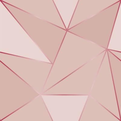 Papel de Parede Rose Gold Geométrico Tons de Cinza