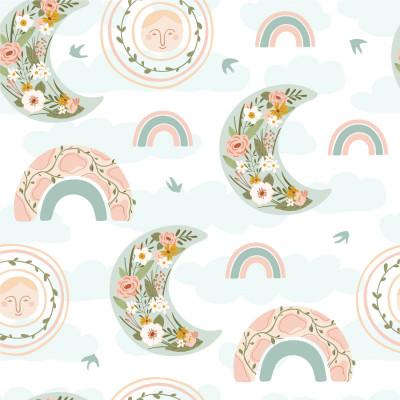 Papel de Parede Infantil Arco Íris Floral