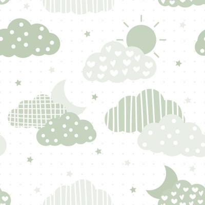 Papel de Parede Nuvens e Estrelas (Verde)