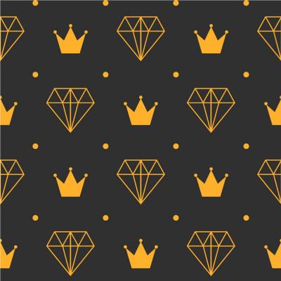 Papel de Parede Coroa e Diamante (Chumbo e Amarelo)