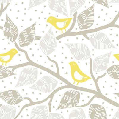 Papel de Parede Galhos Folhas e Pássaros