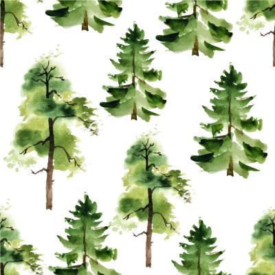 Papel De Parede Árvores Aquarela