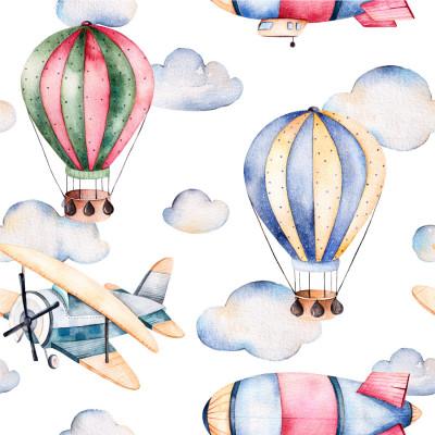 Papel de Parede Balões e Aviões Aquarela