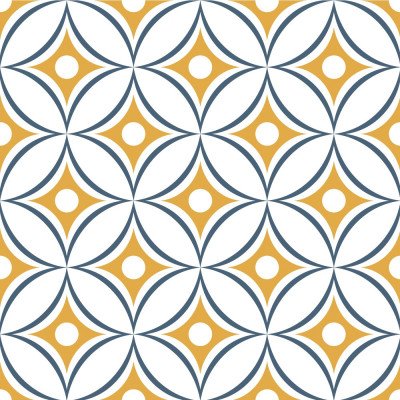 Papel de Parede Bolas Abstratas (Azul e Amarelo)