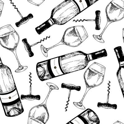 Papel de Parede Desenho de Taça e Garrafa de Vinho