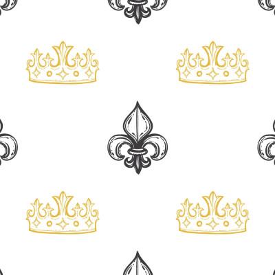 Papel de Parede Infantil Coroa e Flor de Lis