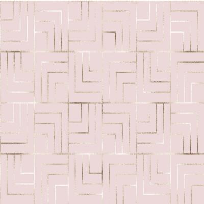 Papel de Parede Abstrato Rose Gold com Linhas Circulares