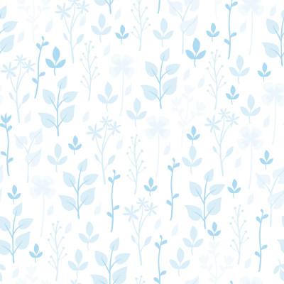 Papel De Parede Folhas Delicadas Azul