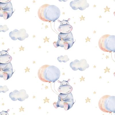Papel De Parede Infantil Hipopótamo Baby Balão