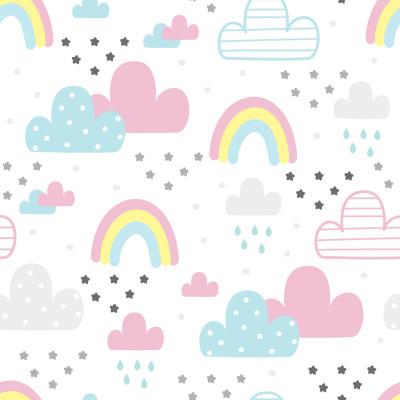 Papel De Parede Infantil Arco-Íris Nuvens