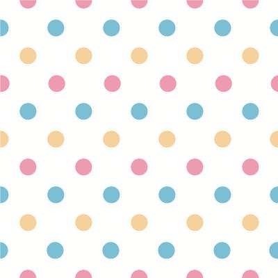 Papel de Parede Bolinhas Coloridas (Rosa, Azul e Amarelo)