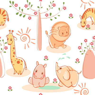 Papel de Parede Infantil Animais Safári - Fundo Branco