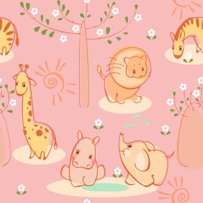 Papel de Parede Infantil Animais Safári - Fundo Rosa