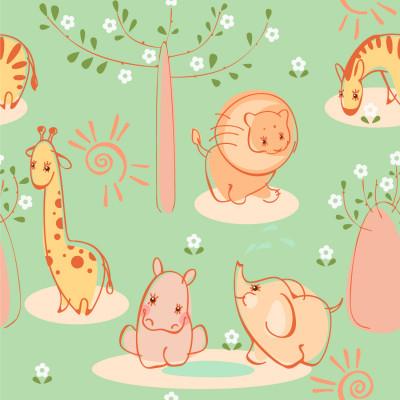Papel de Parede Infantil Animais Safári - Fundo Verde