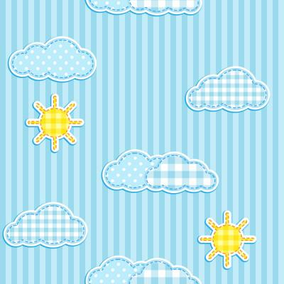 Papel de Parede Infantil Sol e Nuvens