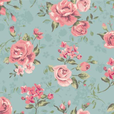 Papel de Parede Rosas (Fundo Azul)