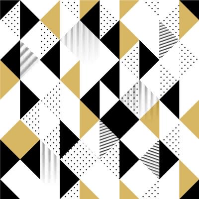 Papel de Parede Triângulos Abstratos (Preto & Amarelo)