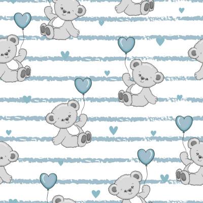 Papel de Parede Ursinho Coração Listras Azul
