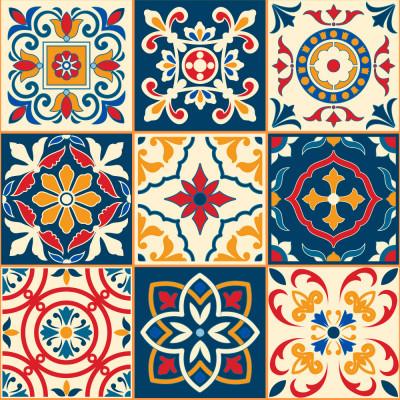 Papel de Parede Azulejos Coloridos
