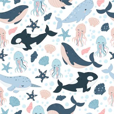 Papel de Parede Baleia Azul