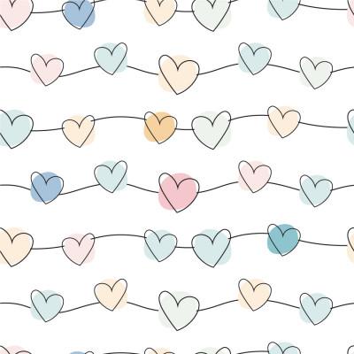 Papel de Parede Corações Coloridos Delicados
