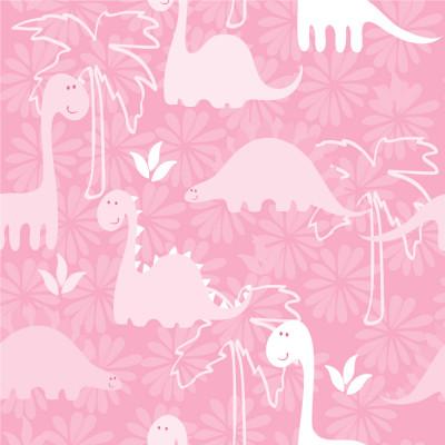 Papel de Parede Infantil Dinossauros (Rosa Bebê)