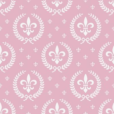 Papel de Parede Infantil Flor de Lis (Rosa Bebê)