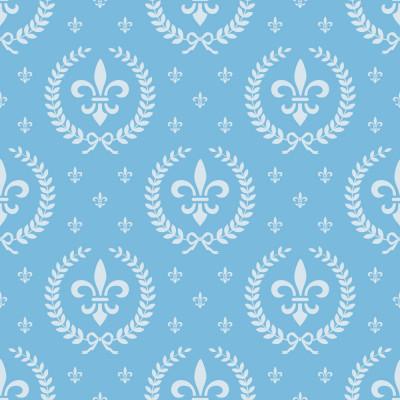 Papel de Parede Infantil Flor de Lis (Azul Bebê)