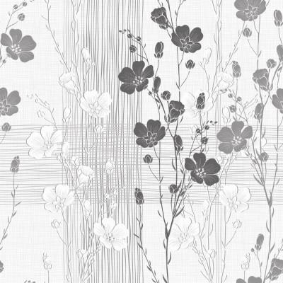 Papel de Parede Floral Abstrato Cinza